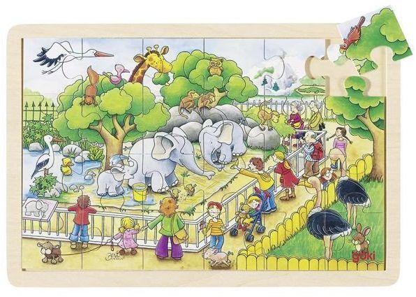 Odwiedziny w Zoo, puzzle drewniane, goki