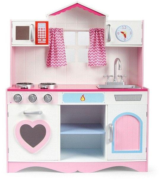 Duża kuchnia drewniana Płomienne serce - kuchnie dla dzieci