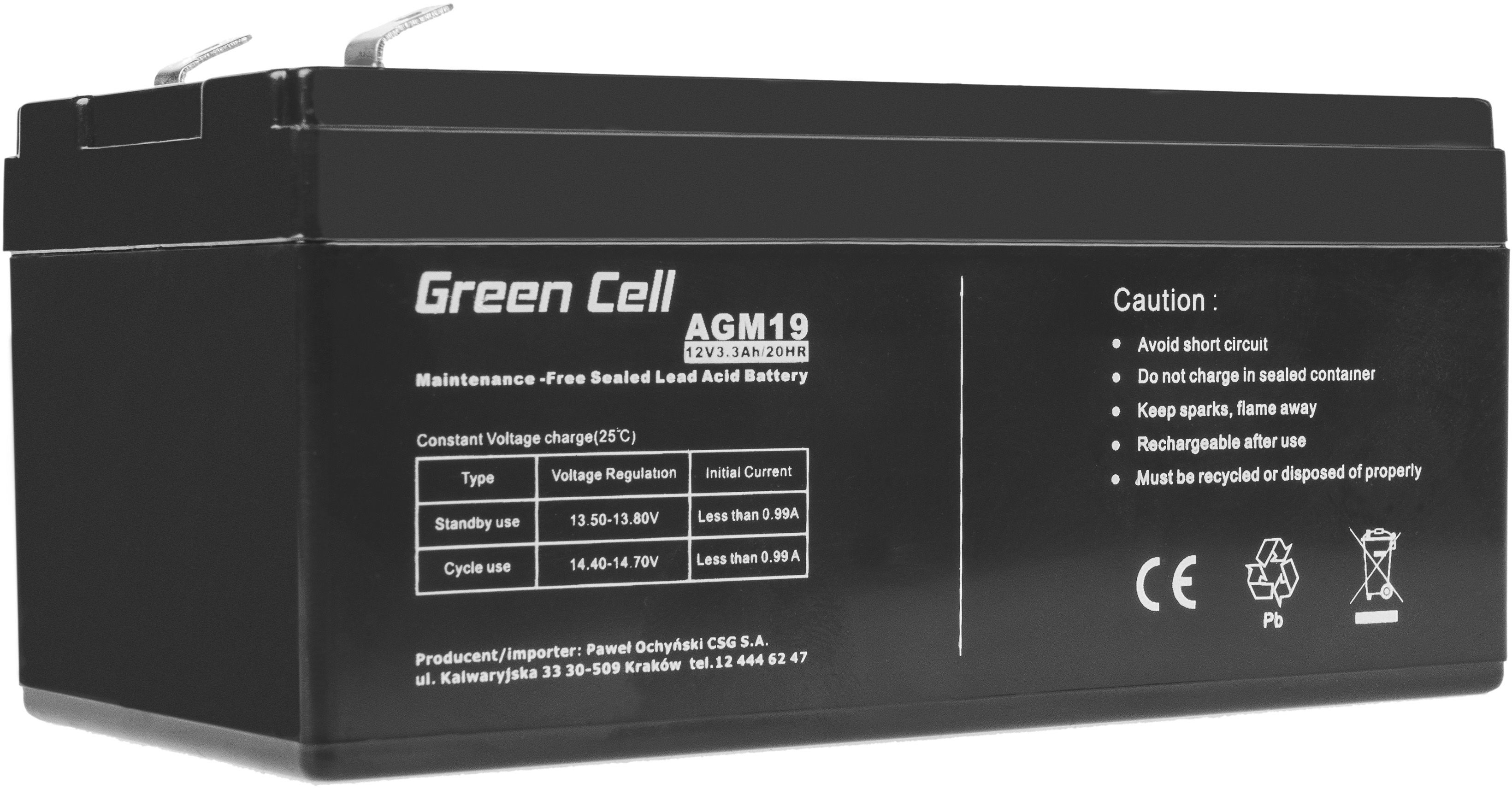 Green Cell AGM VRLA 12V 3.3Ah bezobsługowy akumulator do systemu alarmowego kasy fiskalnej zabawki