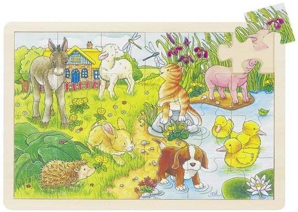 Młode zwierzątka, puzzle na podstawce, goki