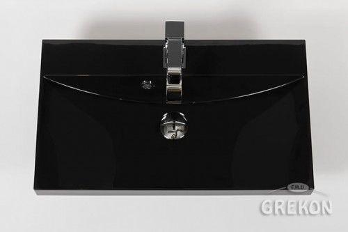 Umywalka dolomitowa Liv 60x35cm czarna połysk, Gante
