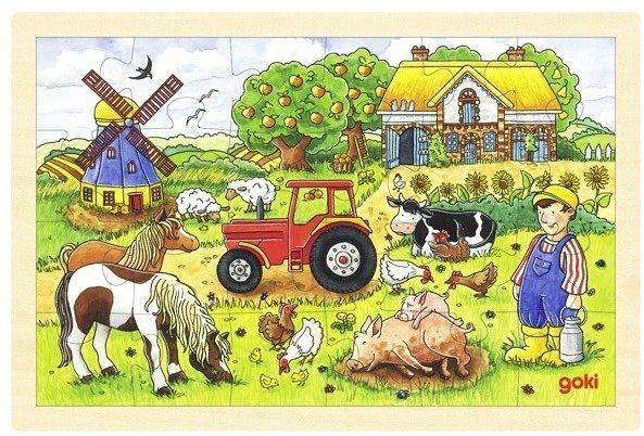 Farma pełna zwierząt, puzzle drewniane, goki