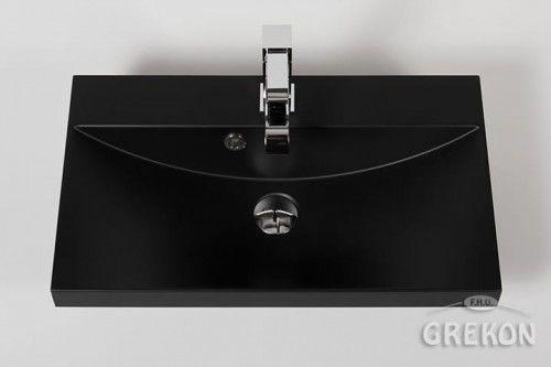 Umywalka dolomitowa Liv 60x35cm czarna matowa, Gante