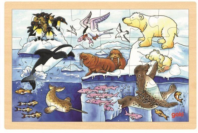 Puzzle drewniane Polarne zwierzęta 57889-Goki, układanki dla dzieci