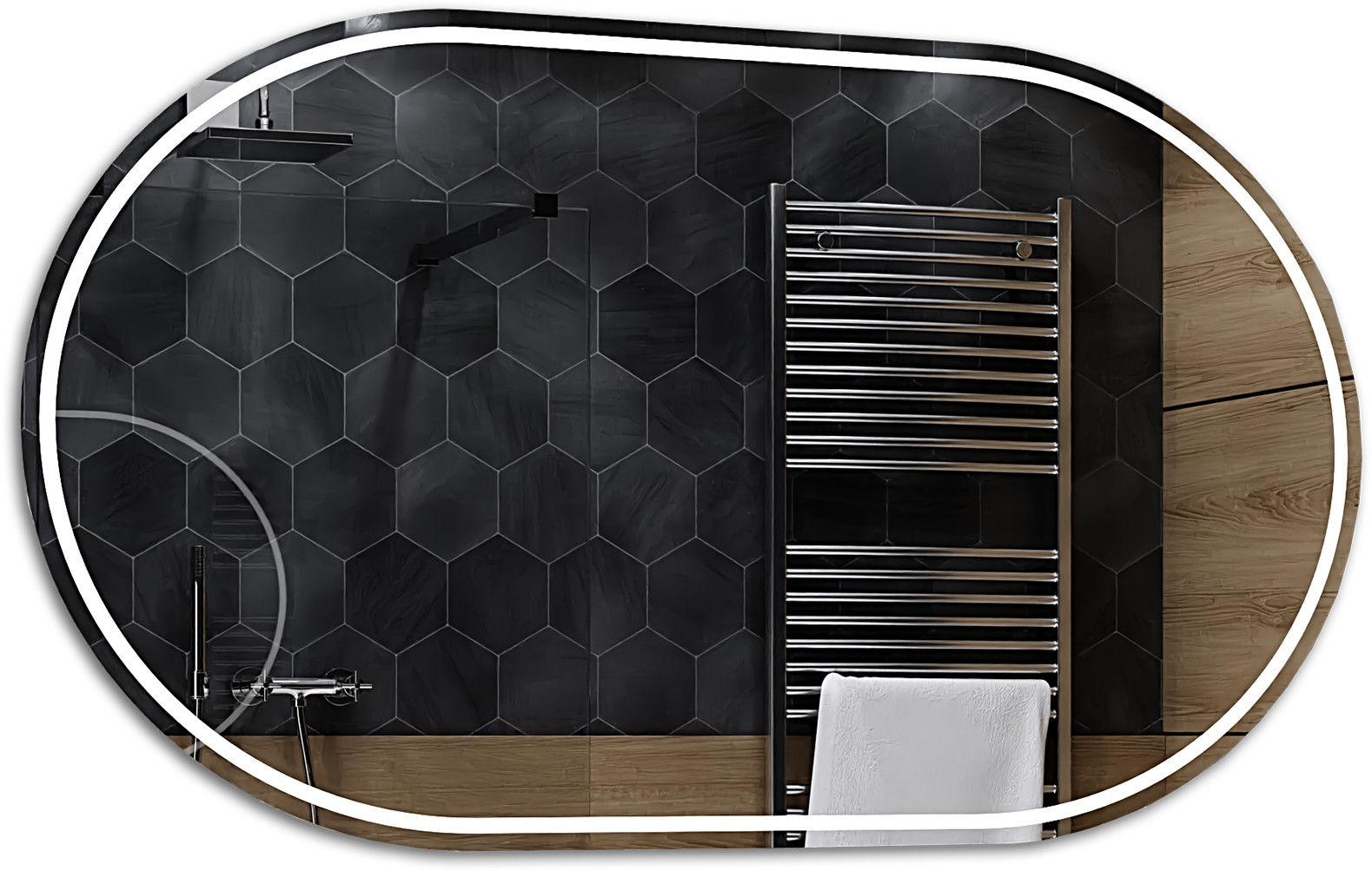 Alasta Lustro Łazienkowe z Podświetleniem LED - rozmiar 60x80cm - zimny kolor LED - Model Palermo