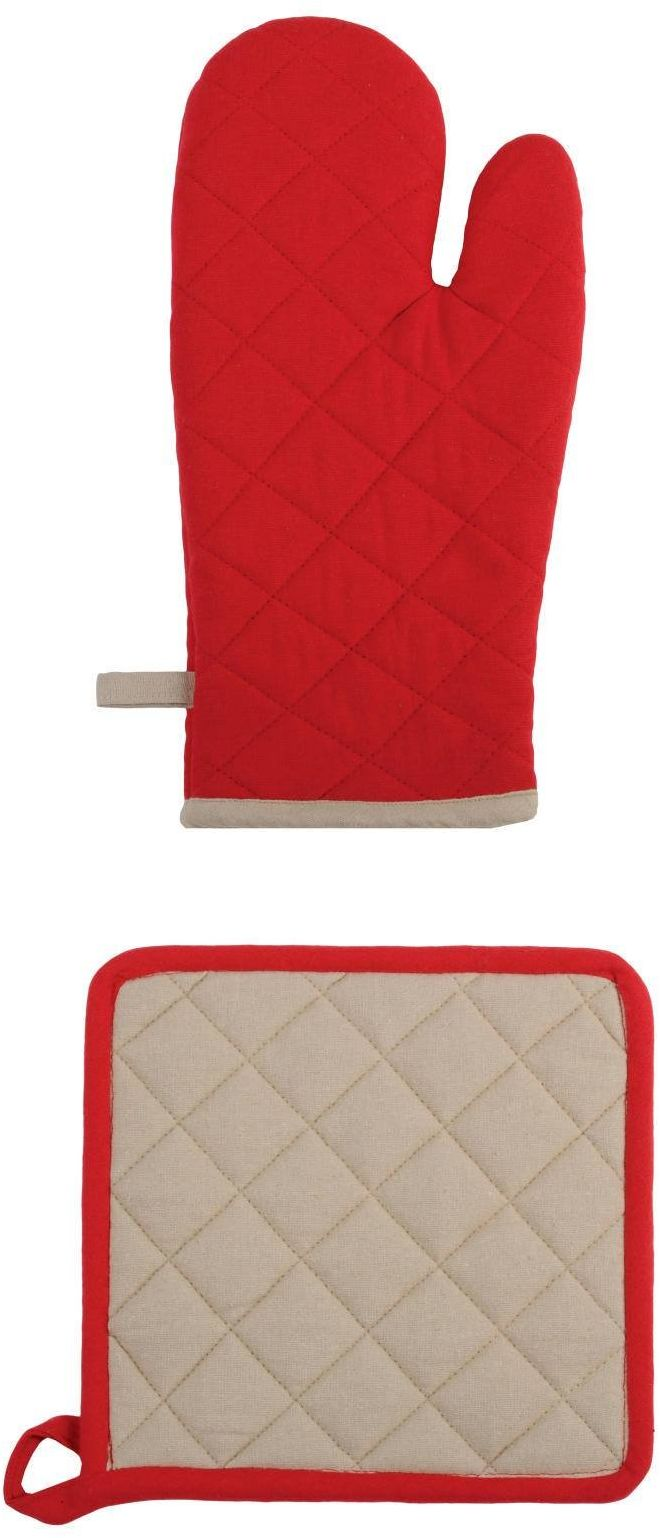 Lovely Casa cu1490041 zestaw Duo rękawiczka/łapka do garnków bawełna czerwona/len 21 x 35