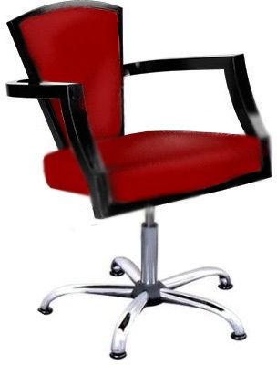 Ayala KING Lux 02 fotel fryzjerski czerwony na pompie gazowej i podstawie pięcioramiennej dostępny w 48h
