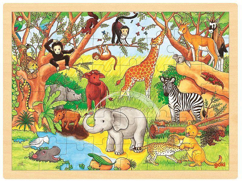 Afrykański krajobraz, puzzle na podstawce, goki