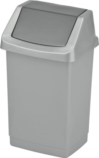 Kosz na śmieci 15 l plastikowy z uchylną pokrywą Grafitowy