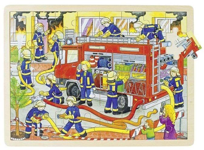 Puzzle dla dzieci, Strażacy w akcji, 48 el., 57527-goki, puzzle drewniane
