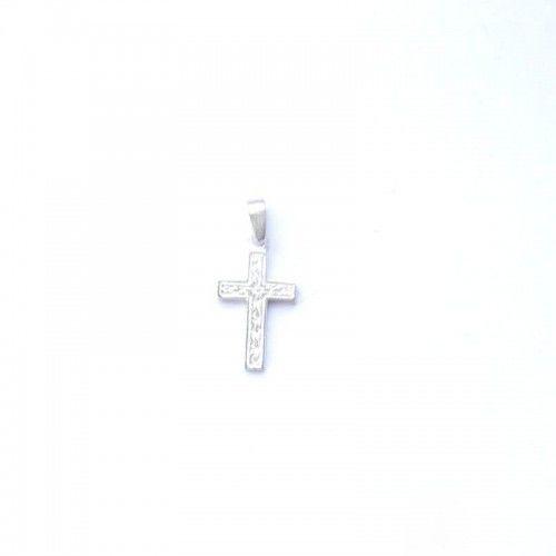 Wisiorek srebrny satynowy krzyżyk