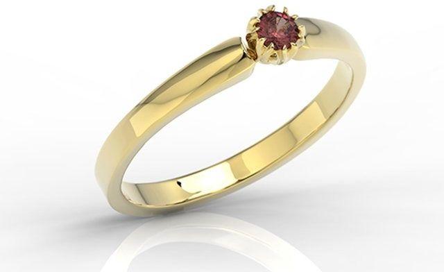 Pierścionek zaręczynowy z żółtego złota z granatem bp-2110z