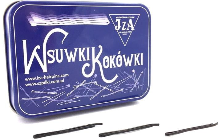 IzA Puszka spinki wsuwki czarne 40mm proste 180szt.