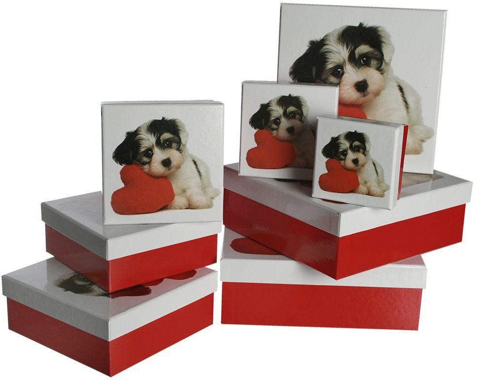 Out of the blue Czerwony/biały, ok. 22,5 x 22,5 x 8 cm, zestaw 8 sztuk, pojedyncze wyróżnienie EAN pudełko prezentowe, pies z sercem, tektura, wielokolorowe, 22,5 x 22,5 cm, 8 sztuk