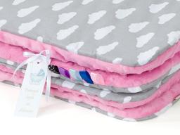 MAMO-TATO Kocyk Minky dla niemowląt i dzieci 75x100 Chmurki białe na szarym / róż