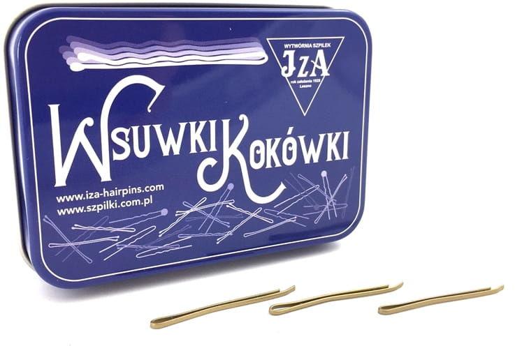 IzA Puszka spinki wsuwki złote 40mm proste 180szt.