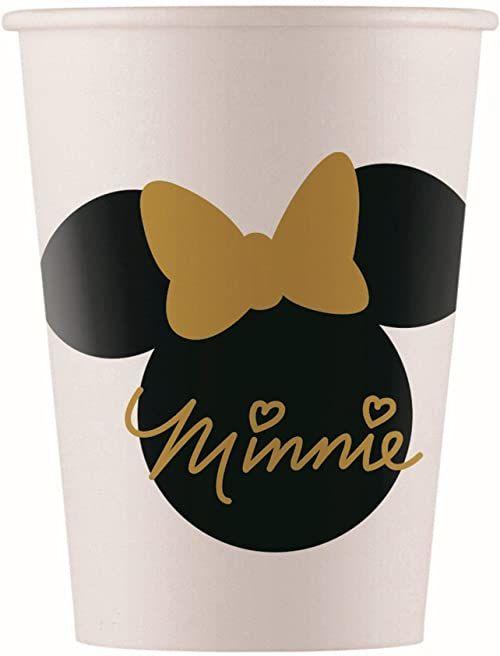 Procos 10067718 Minnie Mouse kubek imprezowy Disney Minne Pappe, 8 sztuk, biały, czarny, złoty