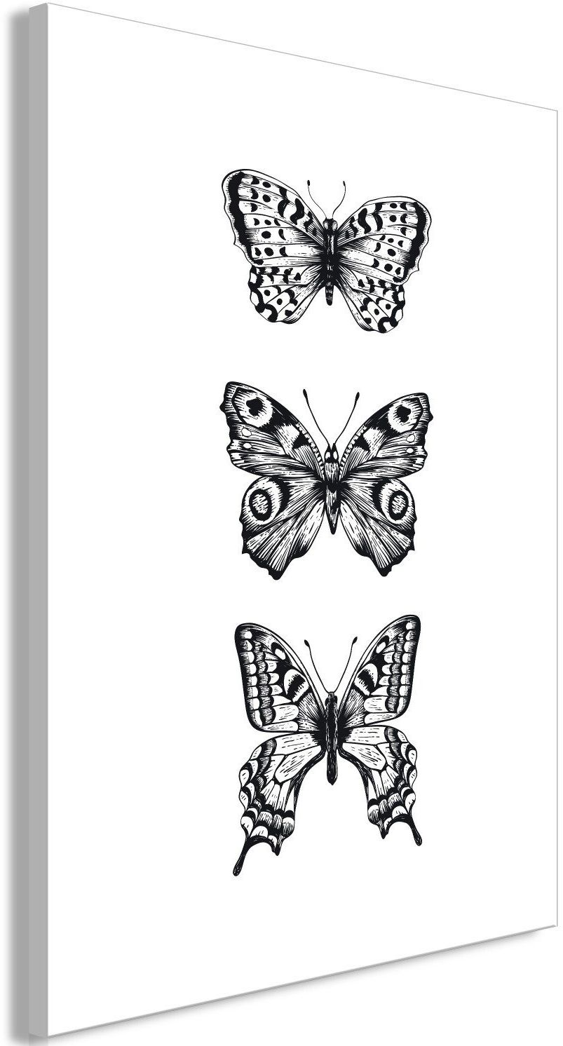 Obraz - trzy motyle (1-częściowy) pionowy