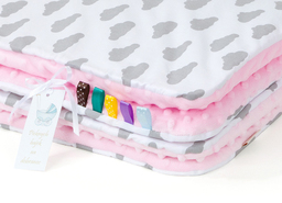 MAMO-TATO Kocyk Minky dla niemowląt i dzieci 75x100 Chmurki szare na bieli / jasny róż