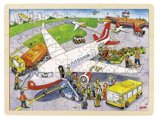 Podróż samolotem - puzzle drewniane, 96 el., 57544-goki, puzzle dla dzieci