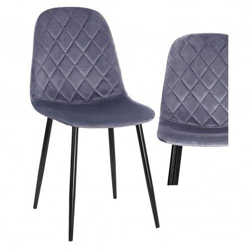 Krzesło tapicerowane do jadalni w kolorze szarym DC-1916 welur #21
