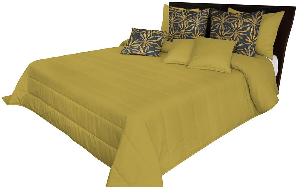 Narzuta pikowana na łóżko musztardowa NMN-007 Mariall