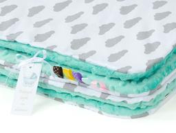MAMO-TATO Kocyk Minky dla niemowląt i dzieci 75x100 Chmurki szare na bieli / miętowy