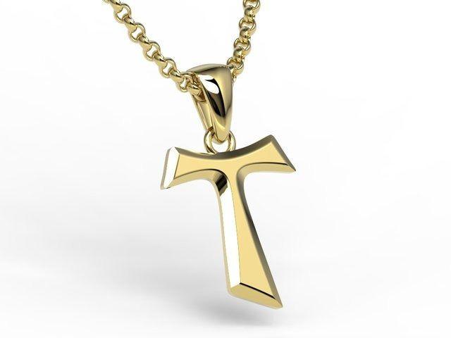 Franciszkański krzyż tau z żółtego złota - kr-6z