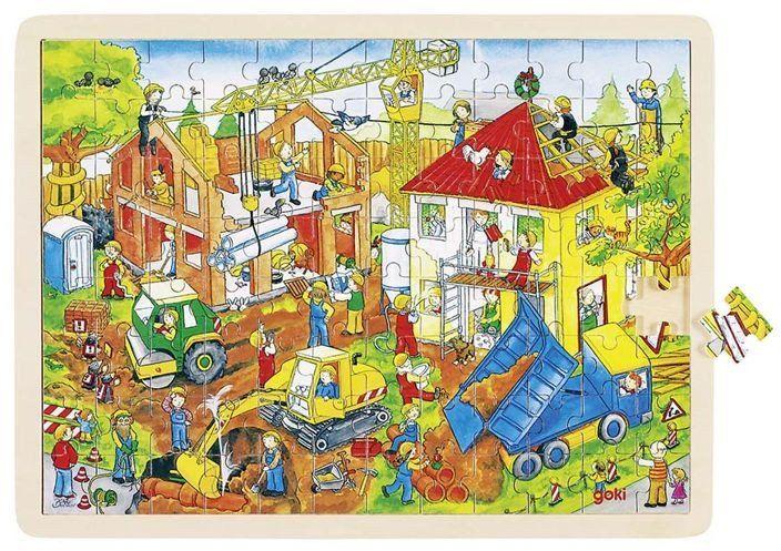 Na placu budowy - puzzle drewniane, 96 el., goki - puzzle dla dzieci