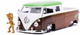 Jada Toys 253225013 Marvel, 1963 Bus Pickup, samochód zabawkowy, drzwi, bagażnik, maska silnika do otwierania, w zestawie figurka Die-cast Groot, skala 1:24, brązowa