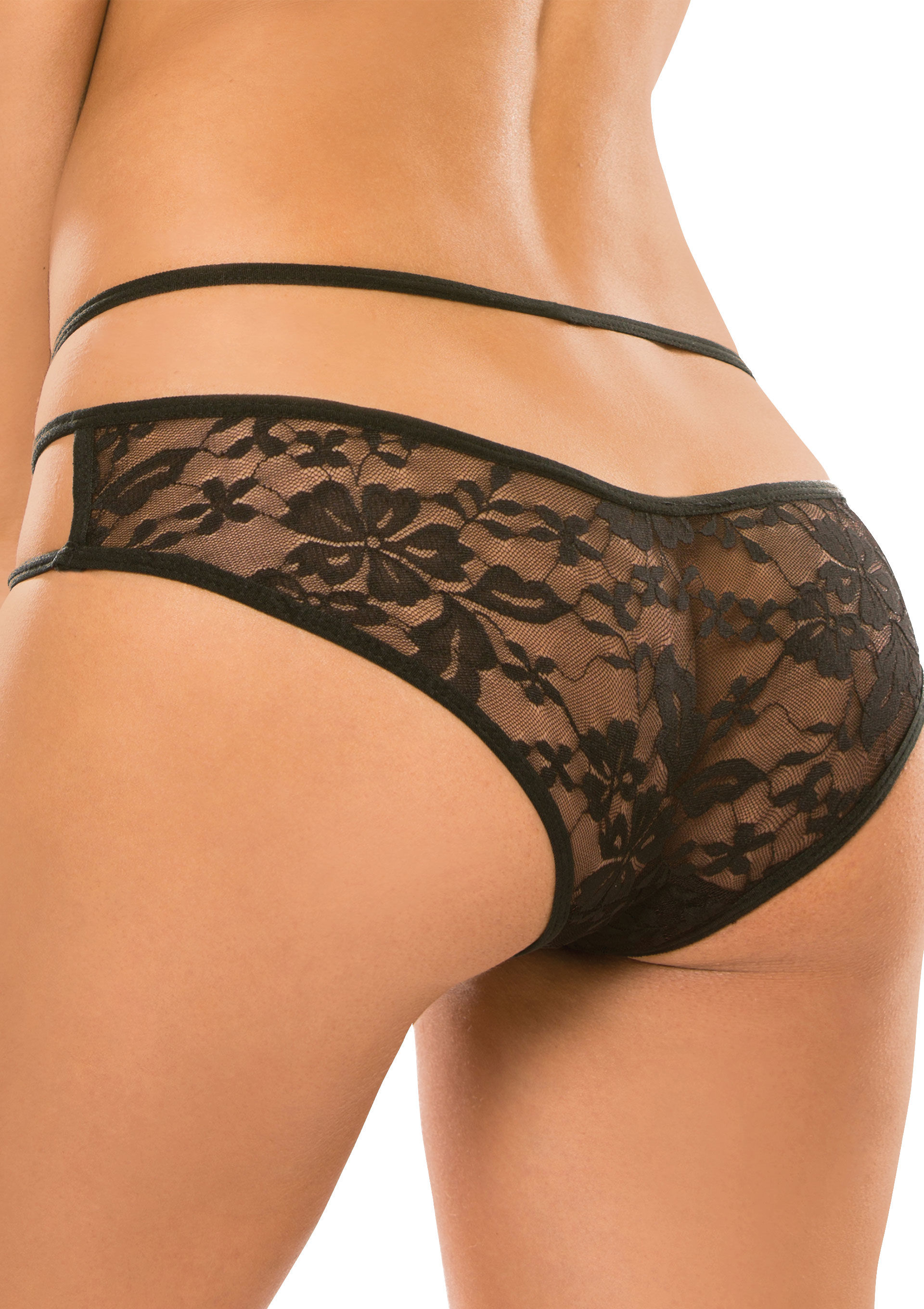 Allure Crotchless Sweet Heavens Panty Black
