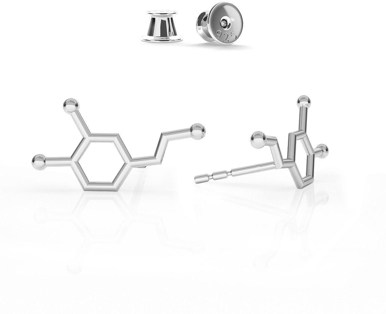 Srebrne kolczyki dopamina wzór chemiczny, srebro 925 : Srebro - kolor pokrycia - Pokrycie platyną