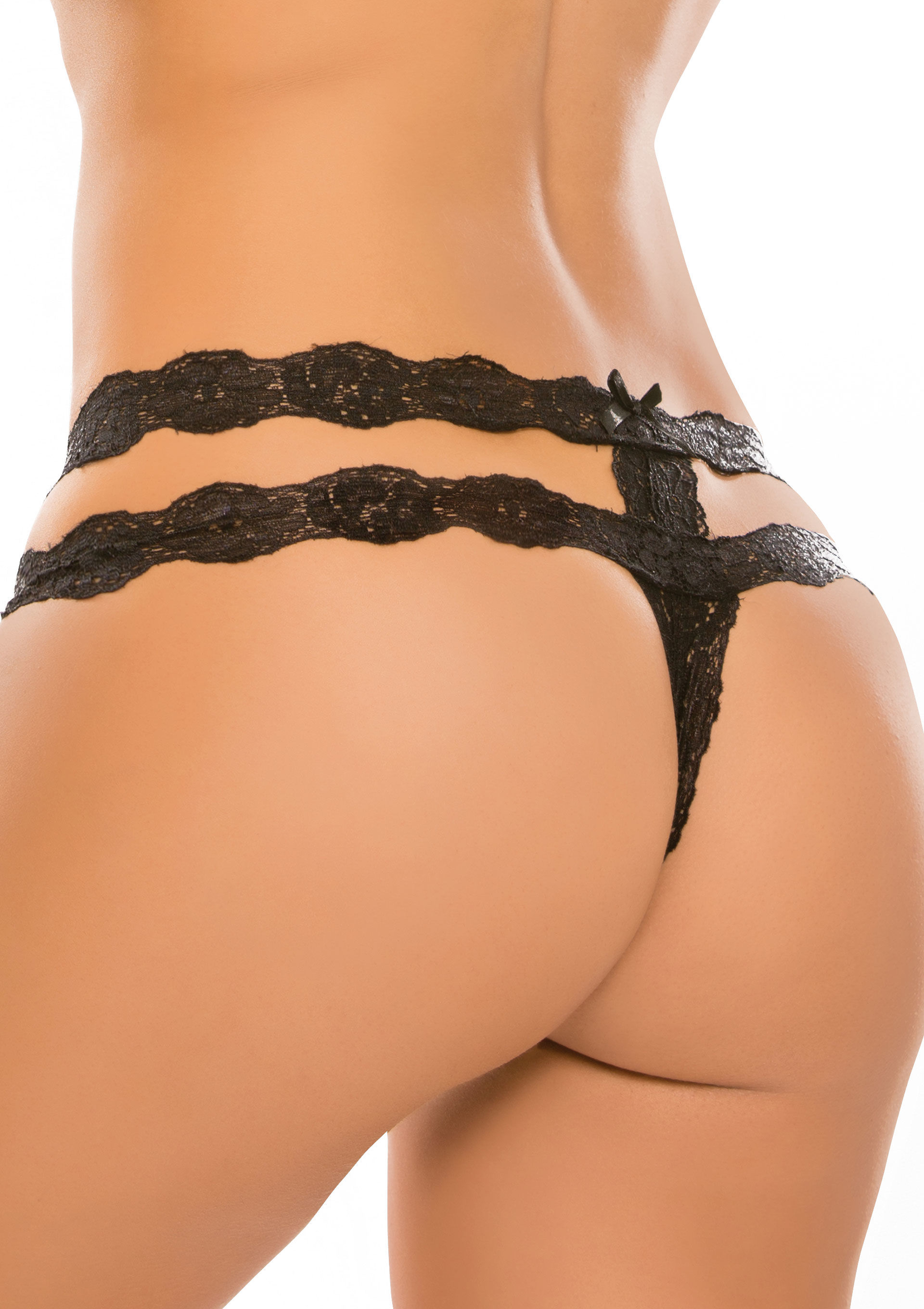 Allure Crotchless Rhapsody Panty Black