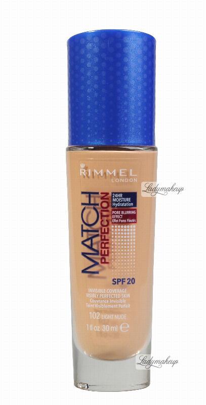 RIMMEL - MATCH PERFECTION FOUNDATION - Kryjący pokład do twarzy - 30 ml - 102 - LIGHT NUDE