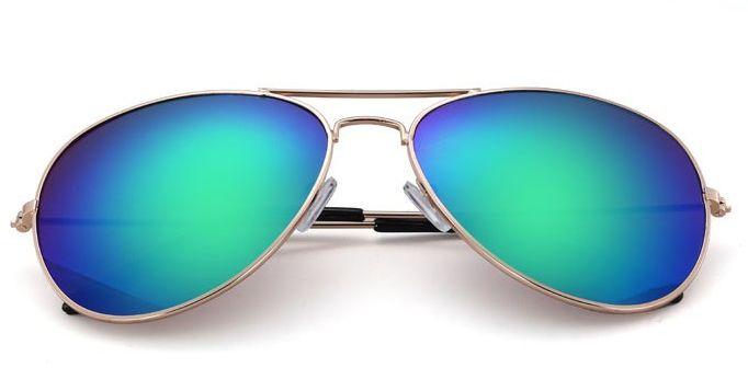 Okulary Aviator zloto-zielone lustrzanki Pilotki przeciwsłoneczne 2163K