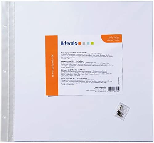 Artemio 11009007 zestaw 10 koszulek do albumu fotograficznego do scrapbookingu z tworzywa sztucznego/papieru, wielokolorowe, 24,2 x 0,7 x 22,3 cm