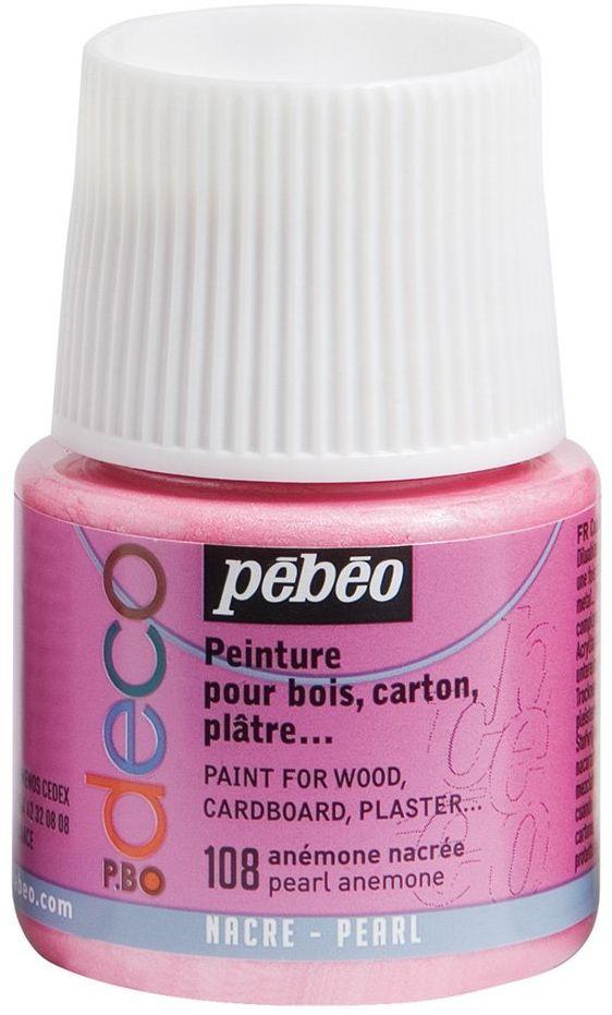 Pébéo 285108 farba akrylowa, matowa, 45 ml, tanemona perłowa, 1 butelka