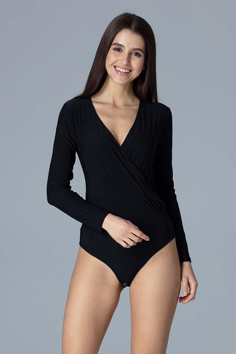 Czarne Eleganckie Body z Kopertowym Dekoltem