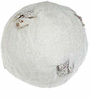 EUROCINSA Ref.27121 Kulka zawieszka biała z Bast błyszcząca z wkładkami anananasowymi 15 Ø cm 6 sztuk, 15 cm