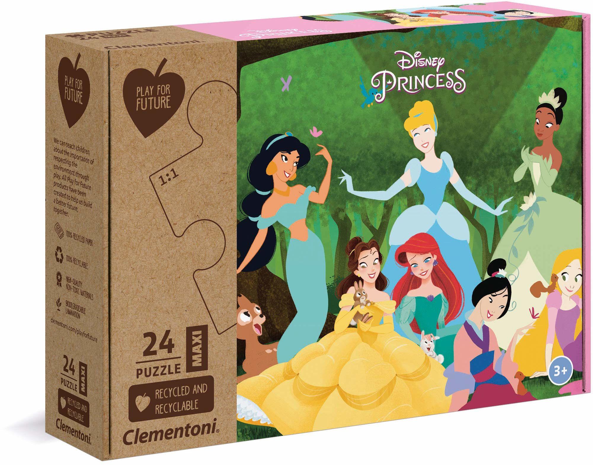 Clementoni 20257 Play for Future-Maxi Puzzle 24 części Supercolor-Princess, trwały produkt ze 100% materiałów pochodzących z recyklingu i nadających się do recyklingu, dla dzieci od 3 lat