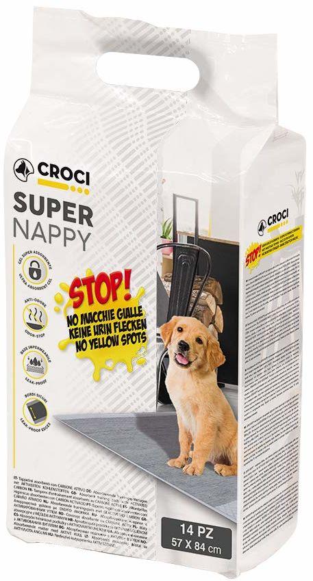 CROCI super chłonne podkładki na pieluchy z węglem aktywnym dla psów, 84 x 57 cm, 14-częściowy