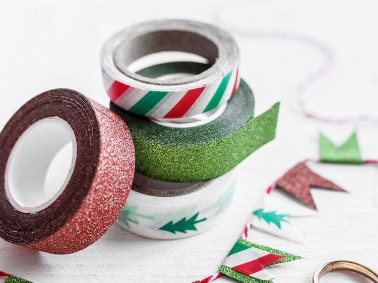 Tasiemki dekoracyjne Washi Tape Merry Xmas 4szt 10m DTP7