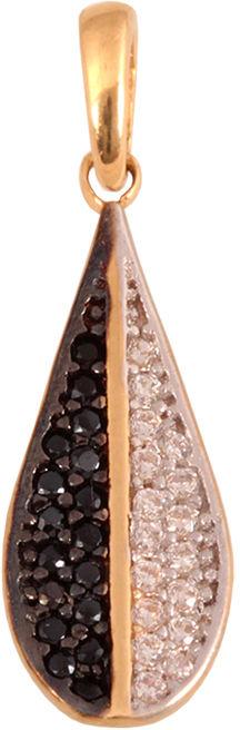 Złota przywieszka 585 w kształcie łezki z cyrkoniami i czarnymi kamieniami.
