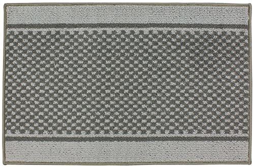 JVL Podkładka pod drzwi wejściowe z możliwością prania w pralce z polipropylenu/lateksu, jasnoszary/ciemnoszary, 57 x 90 x 1,2 cm