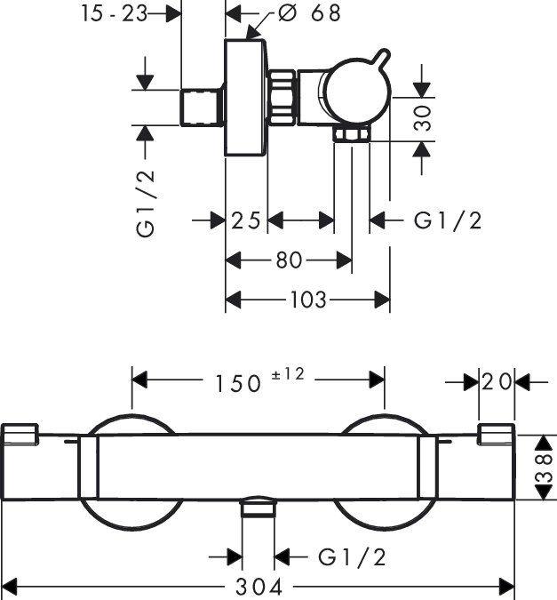 Ecostat Comfort Hansgrohe bateria termostatowa prysznicowa montaż natynkowy chrom - 13116000 Darmowa dostawa