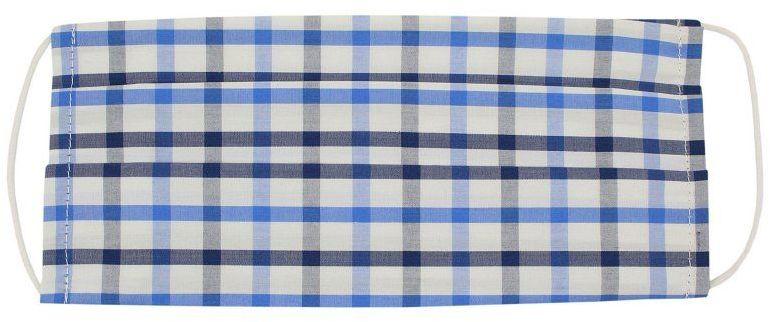 Niebiesko-Biało-Granatowa Maseczka Ochronna, Bawełniana -ALTIES- Wielorazowa, Antywirusowa, w Kratkę MASALTS0018