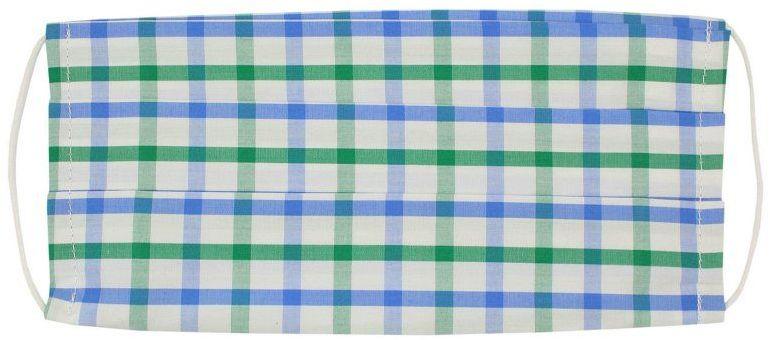 Niebiesko-Biało-Zielona Antywirusowa Maseczka Ochronna, Bawełniana -ALTIES- Wielorazowa, w Kratkę MASALTS0017