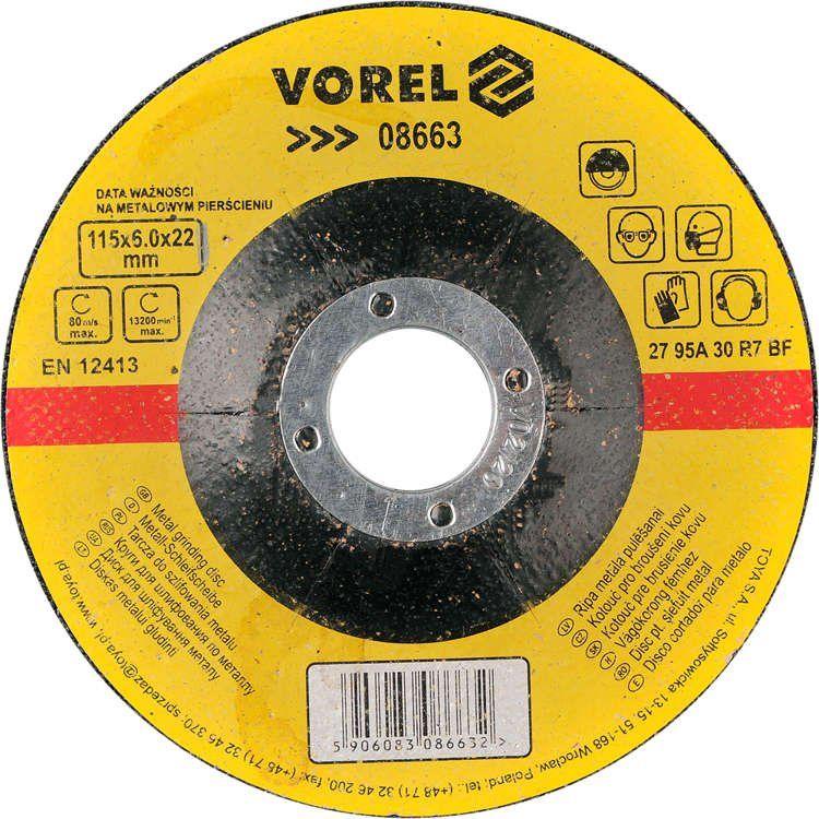 Tarcza do szlifowania metalu 115x6x22 Vorel 08663 - ZYSKAJ RABAT 30 ZŁ