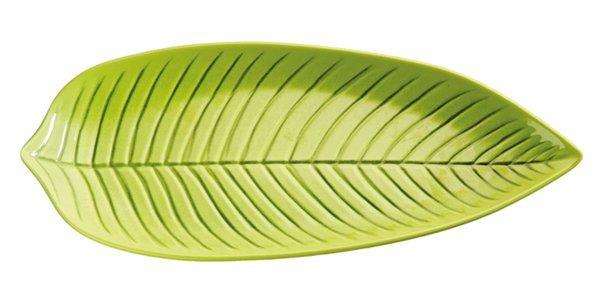 Półmisek z melaminy w kształcie liścia zielony różne wymiary