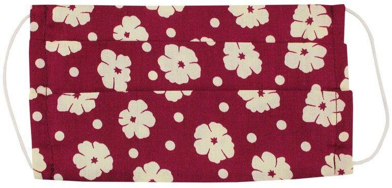 Czerwona Antywirusowa Maseczka Ochronna w Beżowe Kwiaty, Bawełniana -ALTIES Wielorazowa, Uniwersalna MASALTS0016